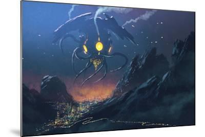 Sci-Fi Scene of the Alien Ship Invading Night City,Illustration Painting-Tithi Luadthong-Mounted Art Print