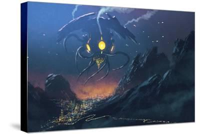 Sci-Fi Scene of the Alien Ship Invading Night City,Illustration Painting-Tithi Luadthong-Stretched Canvas Print