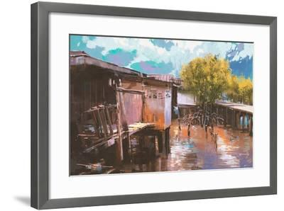 Old Fishing Village,Oil Painting Style,Illustration-Tithi Luadthong-Framed Art Print