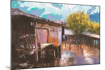 Old Fishing Village,Oil Painting Style,Illustration-Tithi Luadthong-Mounted Art Print