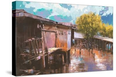 Old Fishing Village,Oil Painting Style,Illustration-Tithi Luadthong-Stretched Canvas Print