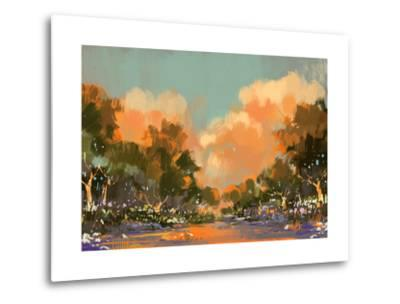 Digital Painting of the Colorful Path in the Forest,Illustration-Tithi Luadthong-Metal Print