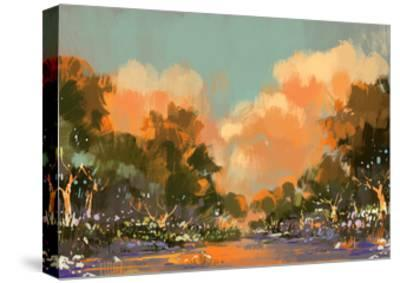 Digital Painting of the Colorful Path in the Forest,Illustration-Tithi Luadthong-Stretched Canvas Print