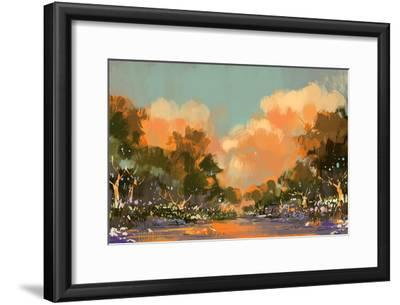 Digital Painting of the Colorful Path in the Forest,Illustration-Tithi Luadthong-Framed Art Print