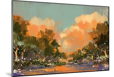 Digital Painting of the Colorful Path in the Forest,Illustration-Tithi Luadthong-Mounted Art Print