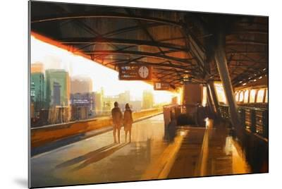 Painting of Couple Waiting a Train on the Station,Illustration-Tithi Luadthong-Mounted Art Print