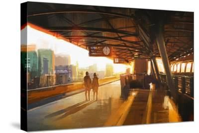 Painting of Couple Waiting a Train on the Station,Illustration-Tithi Luadthong-Stretched Canvas Print