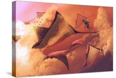 Surreal World Concept Showing Diver and Manta Rays Flying in the Cloudy Sky,Illustration Painting-Tithi Luadthong-Stretched Canvas Print