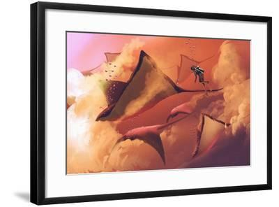 Surreal World Concept Showing Diver and Manta Rays Flying in the Cloudy Sky,Illustration Painting-Tithi Luadthong-Framed Art Print