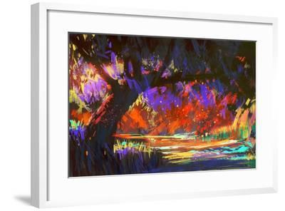 Autumn Landscape Digital Painting,Illustration Art-Tithi Luadthong-Framed Art Print