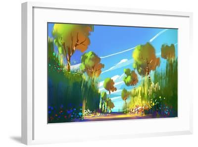 Digital Painting of Colorful Forest and Trees,Nature Green Wood Backgrounds,Illustration-Tithi Luadthong-Framed Art Print
