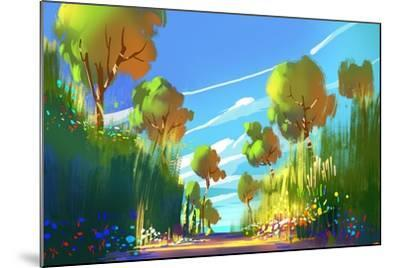 Digital Painting of Colorful Forest and Trees,Nature Green Wood Backgrounds,Illustration-Tithi Luadthong-Mounted Art Print