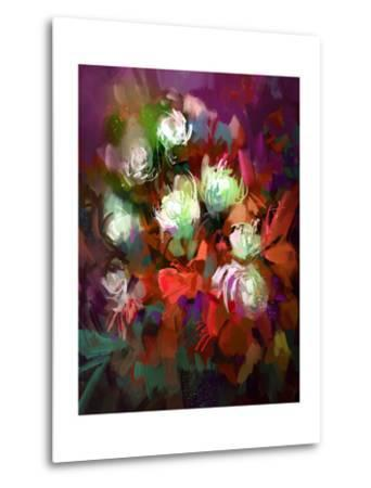 Bouquet of Colorful Flowers,Digital Painting,Illustration-Tithi Luadthong-Metal Print