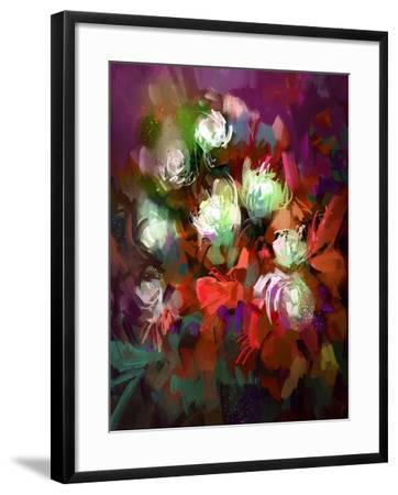 Bouquet of Colorful Flowers,Digital Painting,Illustration-Tithi Luadthong-Framed Art Print