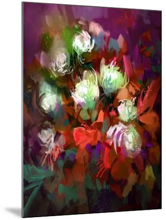 Bouquet of Colorful Flowers,Digital Painting,Illustration-Tithi Luadthong-Mounted Art Print