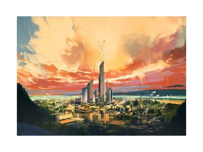 Digital Painting of Futuristic Sci-Fi City with Skyscraper at Sunset,Illustration-Tithi Luadthong-Framed Art Print