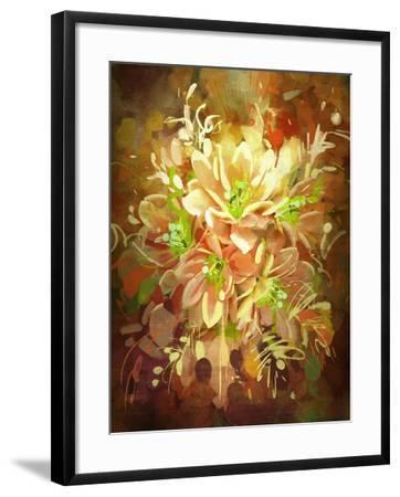Bouquet of Flowers,Digital Painting,Illustration-Tithi Luadthong-Framed Art Print