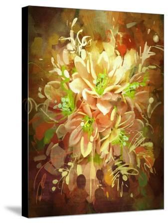 Bouquet of Flowers,Digital Painting,Illustration-Tithi Luadthong-Stretched Canvas Print