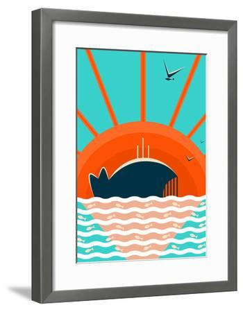 Sea Landscape with Whale Background. Graphic and Bright. Layered Vector Eps8 Illustration.-Popmarleo-Framed Art Print