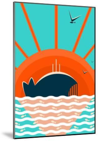 Sea Landscape with Whale Background. Graphic and Bright. Layered Vector Eps8 Illustration.-Popmarleo-Mounted Art Print