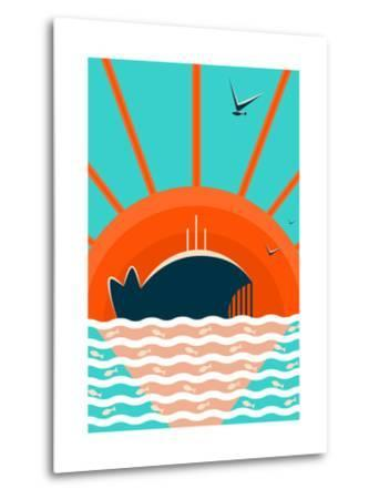 Sea Landscape with Whale Background. Graphic and Bright. Layered Vector Eps8 Illustration.-Popmarleo-Metal Print