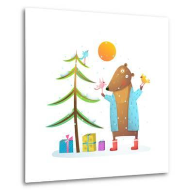 Brown Bear Wearing Warm Winter Coat with Birds Friends Celebrating Christmas. Colorful Animal Carto-Popmarleo-Metal Print