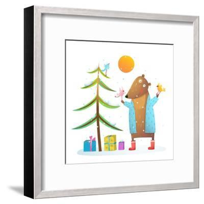Brown Bear Wearing Warm Winter Coat with Birds Friends Celebrating Christmas. Colorful Animal Carto-Popmarleo-Framed Art Print