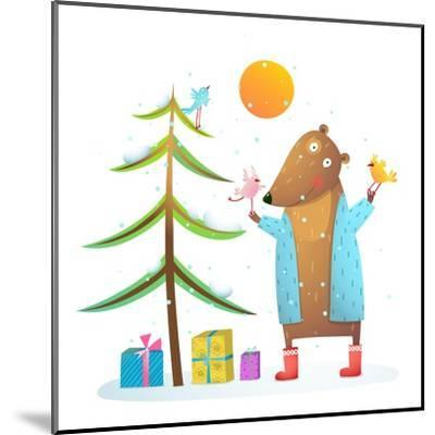 Brown Bear Wearing Warm Winter Coat with Birds Friends Celebrating Christmas. Colorful Animal Carto-Popmarleo-Mounted Art Print
