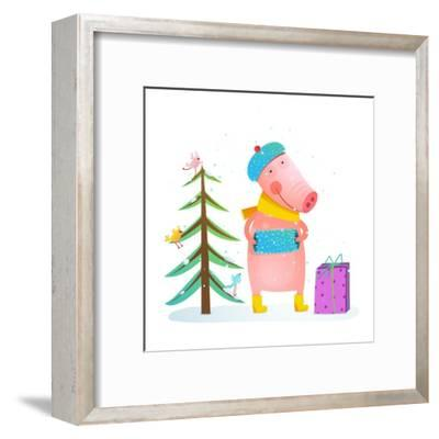 Childish Cheerful Little Pig in Winter Warm Clothes with Fur Tree and Birds. Colorful Cartoon for K-Popmarleo-Framed Art Print