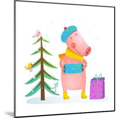 Childish Cheerful Little Pig in Winter Warm Clothes with Fur Tree and Birds. Colorful Cartoon for K-Popmarleo-Mounted Art Print