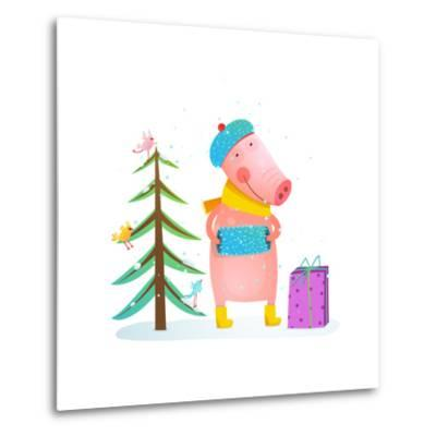 Childish Cheerful Little Pig in Winter Warm Clothes with Fur Tree and Birds. Colorful Cartoon for K-Popmarleo-Metal Print