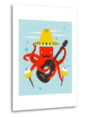 Sombrero Macho Moustache Octopus Playing Guitar. Underwater Mexican Guitarist. Vector Layered Eps8-Popmarleo-Metal Print