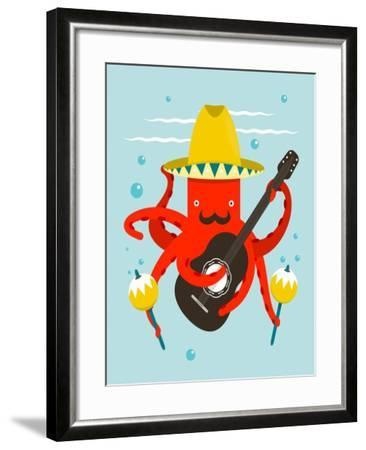 Sombrero Macho Moustache Octopus Playing Guitar. Underwater Mexican Guitarist. Vector Layered Eps8-Popmarleo-Framed Art Print