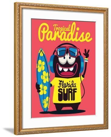 Surfer Monster- braingraph-Framed Art Print