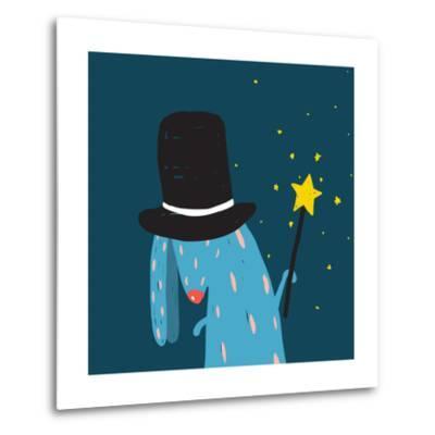 Rabbit in Black Hat Doing Tricks with Magic Wand. Colorful Dark Magical Illustration for Kids Greet-Popmarleo-Metal Print
