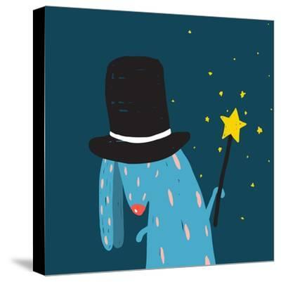Rabbit in Black Hat Doing Tricks with Magic Wand. Colorful Dark Magical Illustration for Kids Greet-Popmarleo-Stretched Canvas Print
