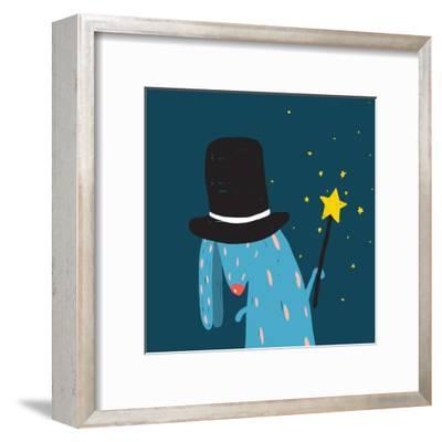 Rabbit in Black Hat Doing Tricks with Magic Wand. Colorful Dark Magical Illustration for Kids Greet-Popmarleo-Framed Art Print