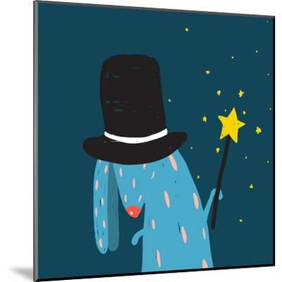 Rabbit in Black Hat Doing Tricks with Magic Wand. Colorful Dark Magical Illustration for Kids Greet-Popmarleo-Mounted Art Print