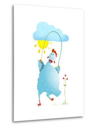 Hen Jumping Rope Childish Cartoon. Chicken Jump, Skipping Comic with Cloud and Sun Cartoon, Exercis-Popmarleo-Metal Print