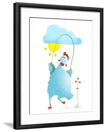Hen Jumping Rope Childish Cartoon. Chicken Jump, Skipping Comic with Cloud and Sun Cartoon, Exercis-Popmarleo-Framed Art Print