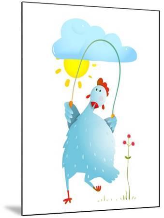 Hen Jumping Rope Childish Cartoon. Chicken Jump, Skipping Comic with Cloud and Sun Cartoon, Exercis-Popmarleo-Mounted Art Print
