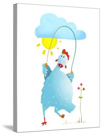 Hen Jumping Rope Childish Cartoon. Chicken Jump, Skipping Comic with Cloud and Sun Cartoon, Exercis-Popmarleo-Stretched Canvas Print