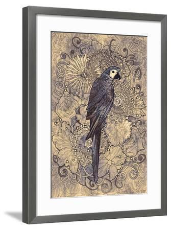 Parrot Line Art with Monochrome Pattern on Floral Design Element,Illustration-Tithi Luadthong-Framed Art Print