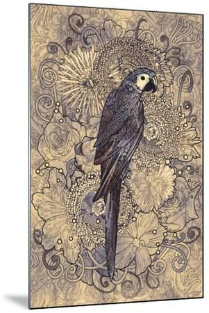 Parrot Line Art with Monochrome Pattern on Floral Design Element,Illustration-Tithi Luadthong-Mounted Art Print
