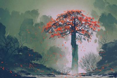 Lonely Red Autumn Tree with falling Leaves in Winter Forest,Landscape Painting-Tithi Luadthong-Framed Art Print