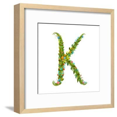 Flower Intricate ABC Sign K. Floral Summer Colorful Intricate Calligraphy Design Lettering Element.-Popmarleo-Framed Art Print