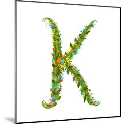 Flower Intricate ABC Sign K. Floral Summer Colorful Intricate Calligraphy Design Lettering Element.-Popmarleo-Mounted Art Print