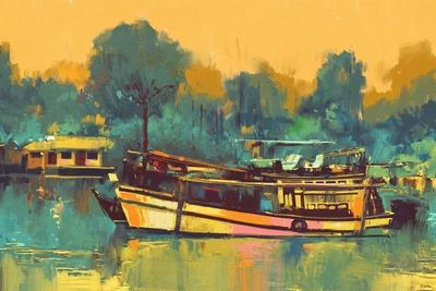 Colorful Painting of Boat for the Transportation on River,Illustration-Tithi Luadthong-Framed Art Print