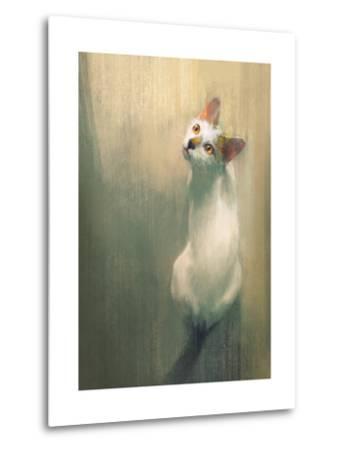 Young White Cat Looking Up,Digital Painting-Tithi Luadthong-Metal Print