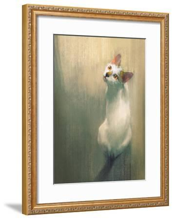 Young White Cat Looking Up,Digital Painting-Tithi Luadthong-Framed Art Print
